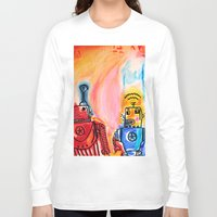 get shit done Long Sleeve T-shirts featuring Robots Get Shit Done by The Fem Fox