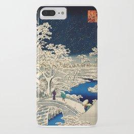 Ukiyo-e, Ando Hiroshige, Yuhi Hill and the Drum Bridge at Meguro iPhone Case