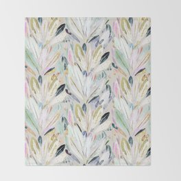 Pastel Shimmer Feather Leaves on Gray Throw Blanket