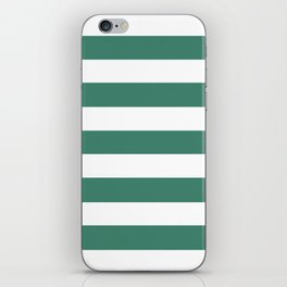 Viridian - solid color - white stripes pattern iPhone Skin