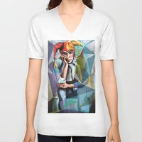 neon V-neck T-shirts featuring Neon by Urban Artist