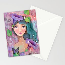 Whimiscal Girl with Morning Glories Stationery Cards