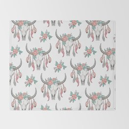 Boho Longhorn Cow Skull with Feathers and Peach Flowers Throw Blanket