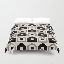 Mid Century Modern House Dot Pattern 971 Black and Gray Duvet Cover