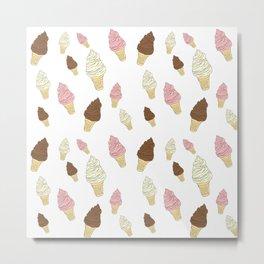 Neopolitan Ice Cream Cones Metal Print