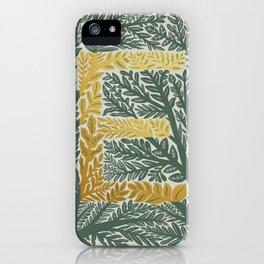 Botanical Metallic Monogram - Letter E iPhone Case