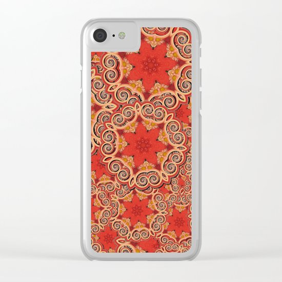 K143 - Red Curls Abstract Clear iPhone Case