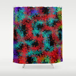 Multicolored delicate pastel red circles and blue ellipses depicting abstract ornamental green flowe Shower Curtain