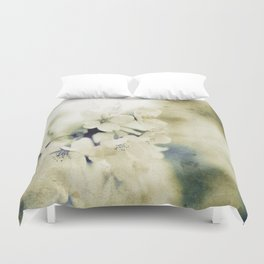 Yellow Green Vintage Cherry Flowers Duvet Cover