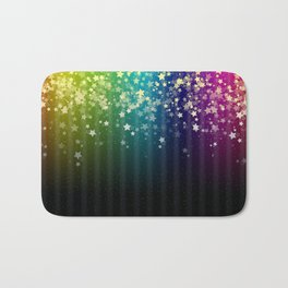 Colorful Space Rainbow Stars Bath Mat
