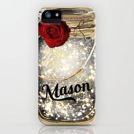 Gold Sparkle Mason Jar iPhone Case