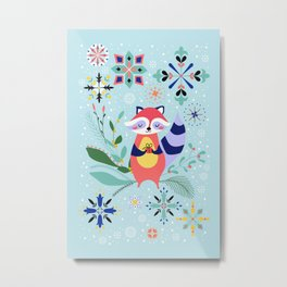 Happy Raccoon Card Metal Print