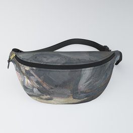 Oil painting of a man smoking an opium pipe, Europe Fanny Pack
