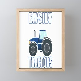 Easily Distracted By Tractors. Farm Harvest Farmer Framed Mini Art Print