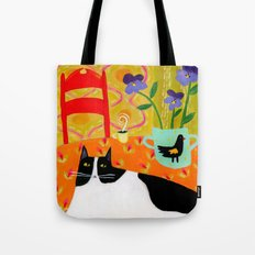 Tuxedo Cat on the Table with Black Bird planter Tote Bag