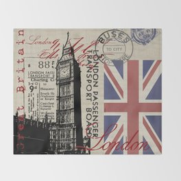 London Great Britain Big Ben Flag Collage #Society6Art Throw Blanket