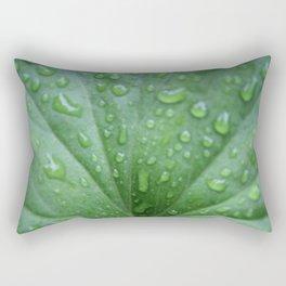 Raindrops on a geranium leaf Rectangular Pillow