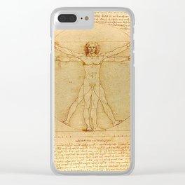 Vitruvian Man - Leonardo da Vinci Clear iPhone Case