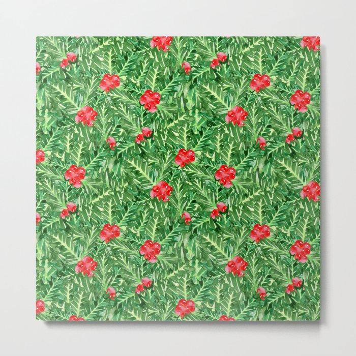 Holly Jolly Christmas Leaves & Berries (Small Pattern) Metal Print