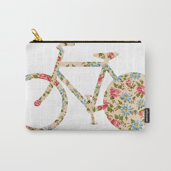 Whimsical cute girly floral retro bicycle Carry-All Pouch