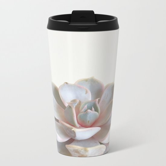 Pink Succulent Metal Travel Mug