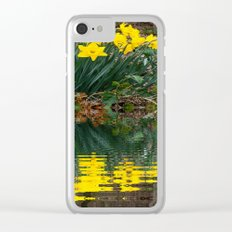 YELLOW DAFFODILS WATER REFLECTION PATTERN Clear iPhone Case