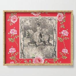 Girl riding horse in the rose garden - Romantic scene Serving Tray