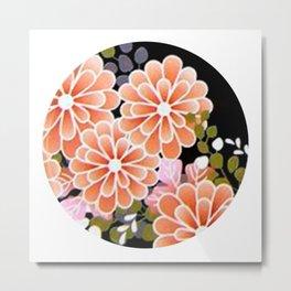 Japanese Circle 7 Golden Chrysanthemum Flower Metal Print