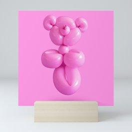 Pink party balloon teddy bear Mini Art Print