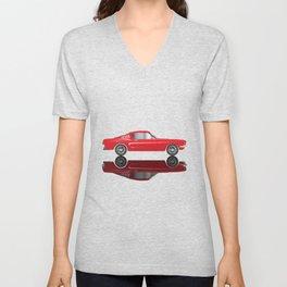 Very Fast Red Car Unisex V-Neck