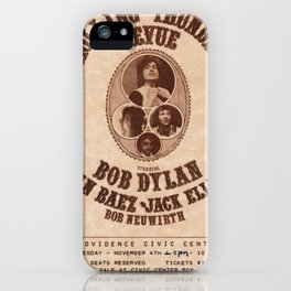 Very Rare Vintage 1975 Bob Dylan and Rolling Thunder Review Flyer - Poster Providence, Rhode Island iPhone Case