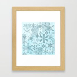 Soft blue faded snowflakes pattern Framed Art Print