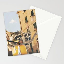 Raccoons on the road trip Stationery Cards