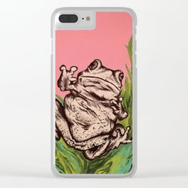 Frog in the weeds Clear iPhone Case