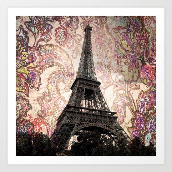 Floral Eiffel Tower Art Print