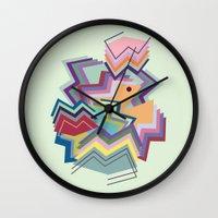 pacman Wall Clocks featuring pacman by carolinegeys