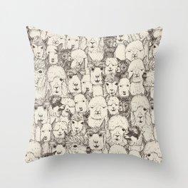 just alpacas natural Throw Pillow