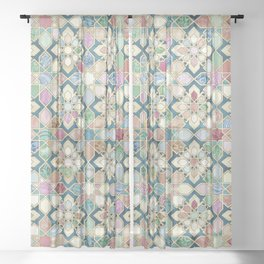 Muted Moroccan Mosaic Tiles Sheer Curtain