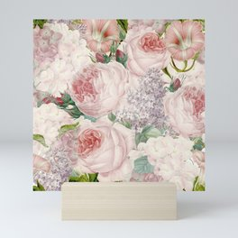 Vintage Roses and Lilacs Pattern - Smelling Dreams Mini Art Print