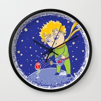 the little prince Wall Clocks featuring Little Prince by Bruna Sousa