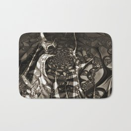 Life of black and white abstract creatures Bath Mat