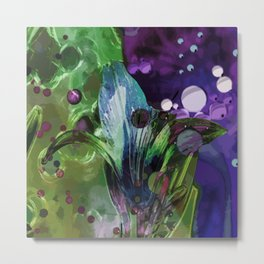 Lily on a green-violet background Metal Print