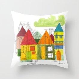 Little Block Town Throw Pillow