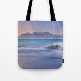 Sunrise over the Table Mountain and Cape Town from Blouwbergstrand Tote Bag