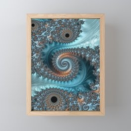 Feathery Flow - Teal and Taupe Fractal Art Framed Mini Art Print