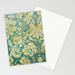 Vintage Antique Green and Gold Pattern Wallpaper Stationery Cards
