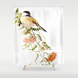 Chickadee Asian Style Bird and Flowers Zen brush painting Shower Curtain