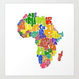 African Continent Cloud Map Art Print