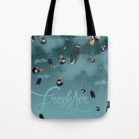 bombs away Tote Bags featuring Bombs away by A Breath of Fresh Air