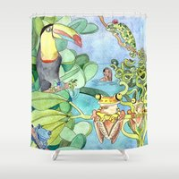 frog Shower Curtains featuring Frog by Emelinedou